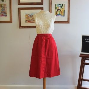 Vintage Classic Button Down Red Midi Skirt Sz XS